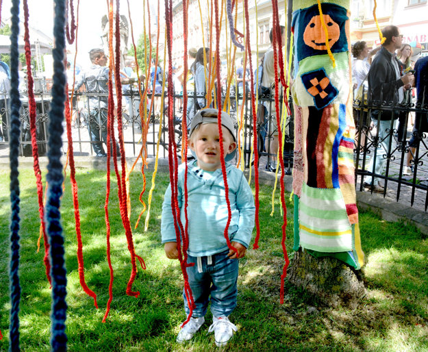 Štrikované grafiti. Stromy v parku dostali na týždeň ozdobu.