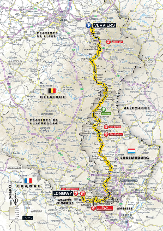Mapa tretej etapy Tour de France 2017.