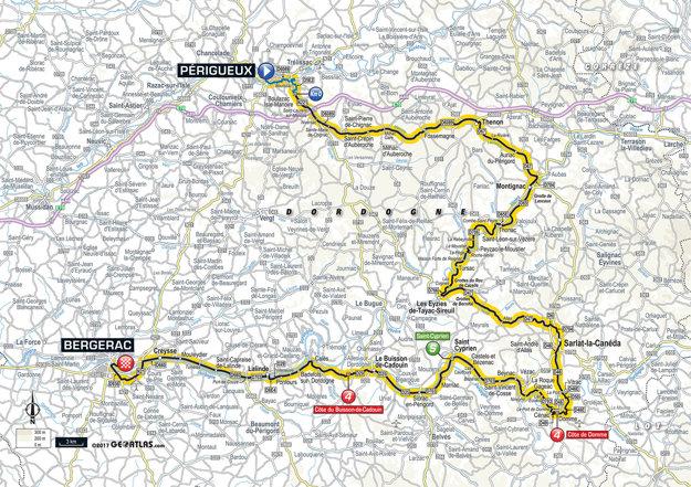 Mapa desiatej etapy Tour de France 2017.