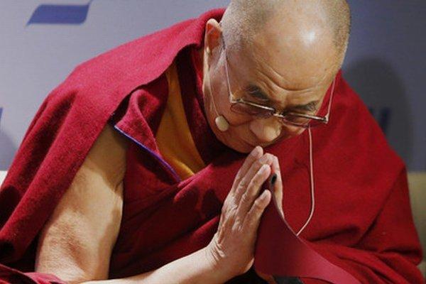 Dalajláma počas prednášky vo Washingtone.