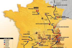 Na snímke oficiálna mapa s trasou cyklistických pretekov Tour de France 2017.