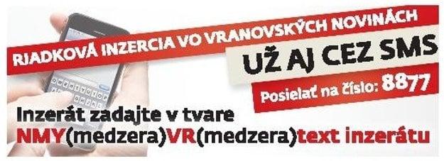 Riadková inzercia vo Vranovských novinách cez SMS.