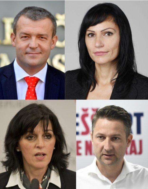 Kandidáti na post predsedu TSK: hore zľava - Jaroslav Baška, Silvia Siváková Nemcová, dolu zľava - Renáta Kaščáková, Štefan Škultéty
