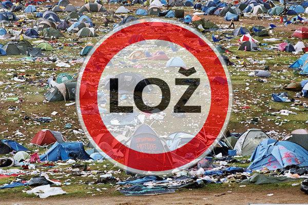 Fotografia pochádza z festivalu Glastonbury a s utečencami nemá nič spoločného.