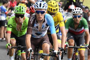 Momentálne štyria najlepší jazdci na Tour - zľava Rigoberto Urán, Romain Bardet, Christopher Froome a Fabio Aru.
