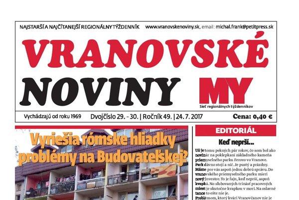 Titulná strana letného dvojčísla Vranovských novín.