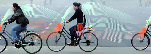 Dánsky vynález. Bicykel nasáva znečistený a vypúšťa čerstvý vzduch.