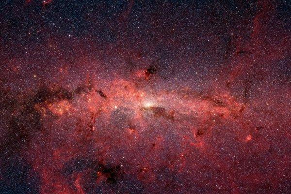 Centrum galaxie Mliečna dráha. Takmer polovica hmoty v Mliečnej dráhe pochádza zo vzdialených galaxií.