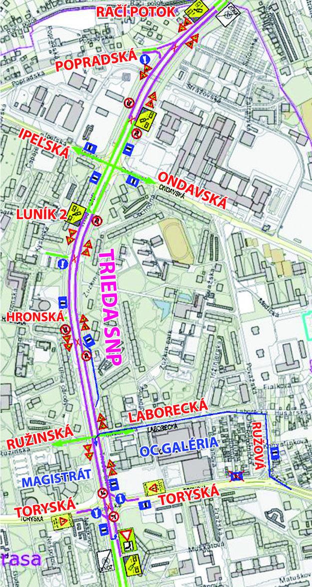 Zmeny v doprave. Legenda čiar: zelenou prejazd bez obmedzenia, fialovou prejazd s obmedzením, modrou náhradná trasa autobusov, červenou zrušené koľajové prejazdy. 