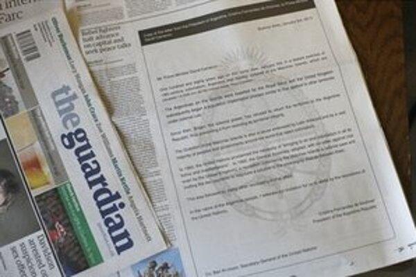 Kópia listu argentínskej prezidentky sa ako inzercia ocitla aj v britských novinách The Guardian.