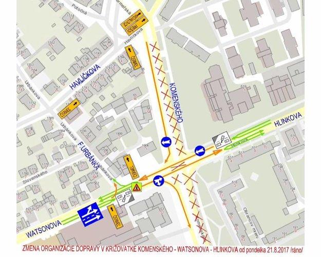 Zmeny organizácie dopravy.Na križovatke Watsonova – Komenského – Hlinkova nastanú od pondelka.