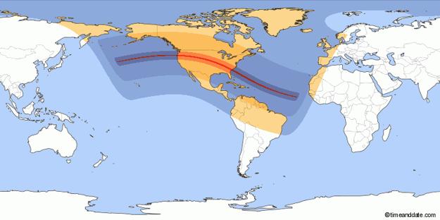 Úplné zatmenie Slnka na americkom kontinente.