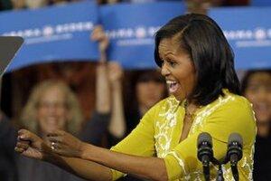 Obamová počas kampane na podporu svojho manžela.