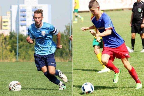 Vľavo kapitán staršieho dorastu ČFK Miroslav Mesároš, vpravo autor jediného gólu mladších dorastencov Patrik Földeši.