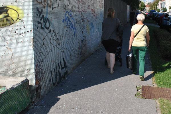 Po chodníku sa váľali desiatky kociek mozaiky, ktoré sa uvoľnili zo steny.