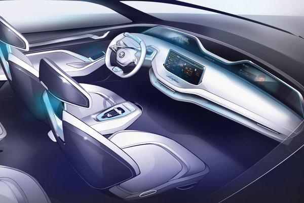 Dizajnová skica kabíny elektromobilu.