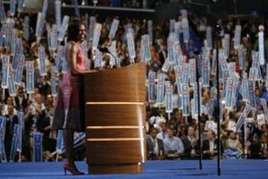 Michelle Obamová počas nominačného kongresu.