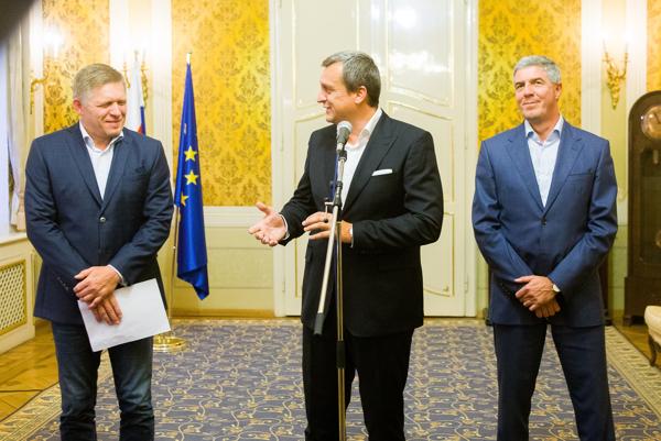 Robert Fico, Andrej Danko a Béla Bugár po štvrtkovej koaličnej rade.