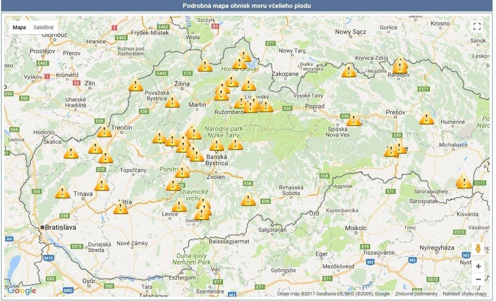 O ohniskách nákazy na území Slovenska informuje štátna veterinárna správa na svojej stránke.