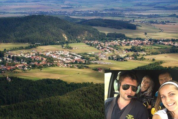 Víťaz ankety v helikoptére, v pozadí záber na Kláštor pod Znievom.