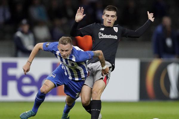 Ondrej Duda (vľavo) počas zápasu proti Bilbau.
