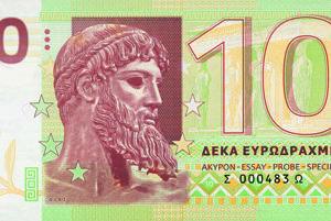 Nové eurodrachmy pre Grécko, prechodná mena pre prípad odchodu z Európskej únie.