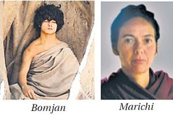 Bamjan verí, že je prevtelený Budha. Vpravo údajná Slovenka Marichi.