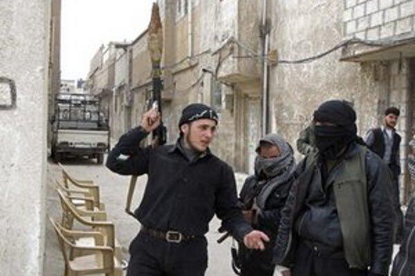 Hliadka sýrskych povstalcov v Damasku.