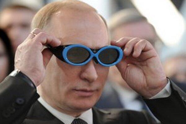 Putin na výstave techniky v Novosibirsku.