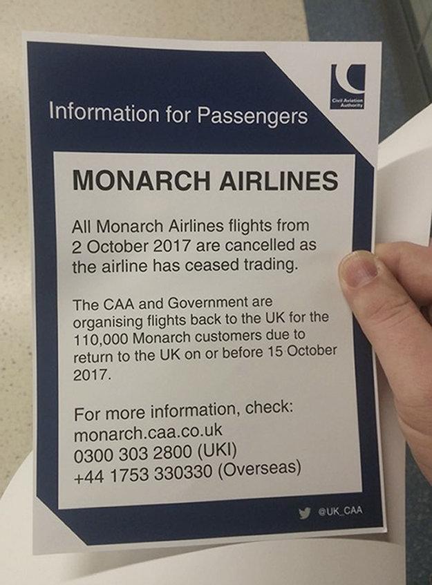 Oznam o zrušení letov.
