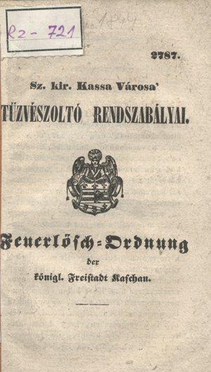 Protipožiarne štatúty mesta Košíc z roku 1844.
