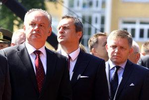 Andrej Kiska, Andrej Danko a Robert Fico.