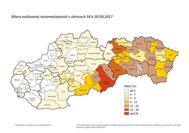 Miera evidovanej nezamestnanosti v okresoch SR k 30.9.2017.