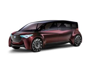 Toyota Fine-Comfort Ride - Takmer päť metrov dlhý automobil ponúka nastaviteľné otočné sedadlá a okná, ktoré fungujú aj ako obrazovky. Poháňajú ho elektromotory v kolesách, energiu im dodávajú palivové články.