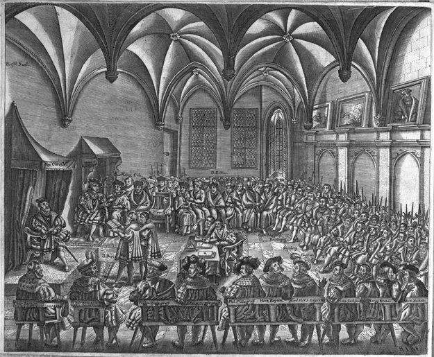 Vyjednávanie mieru na sneme v Augsburgu.