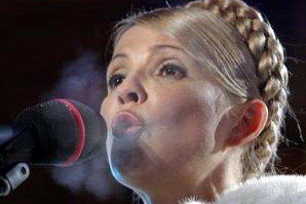 Premiérka Julia Tymošenková počas kampane.