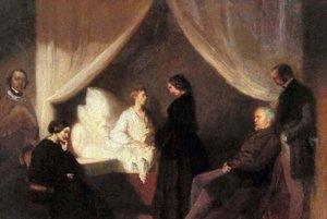Obraz Posledné chvíle Fryderyka Chopina od Teofila Kwiatkowskeho.