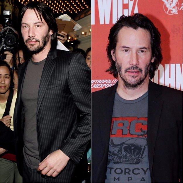 Keanu Reeves v rokoch 2005 a 2017