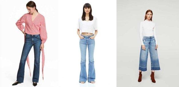 Bootcut leg džínsy, flare leg džínsy, wide leg džínsy