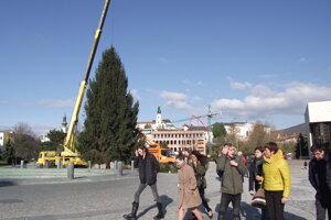 Na námestí už stojí vianočný strom.