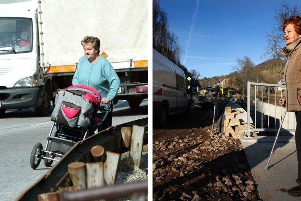 Mária z Kremnice. Vľavo na archívnej fotografii spred rokov na krajnici s vnúčikom v kočíku. Vpravo dnes pri otvorení horského priechodu Kremnické Bane. Vnúčik vyrástol, obavy z kamiónov trvajú.