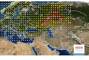 Rádioaktívny mrak nad Európou, ktorý sa šíril z Ruska.