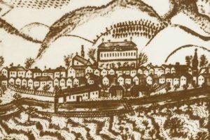 Najstaršie známe vyobrazenie Vrbice na vedute Svätého Mikuláša z prvej polovice 19. storočia.