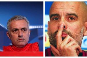 Jose Mourinho (vľavo) a Pep Guardiola sú manchesterskí sokovia.