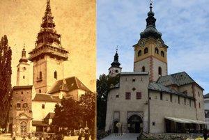 Hradný areál - oprava veže z  roku 1886. Porovnanie s dneškom.