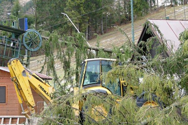 Spadnuté stromy na vleku v lyžiarskom stredisku Vrátna - Pasesky po veternej smršti vo Vrátnej doline.