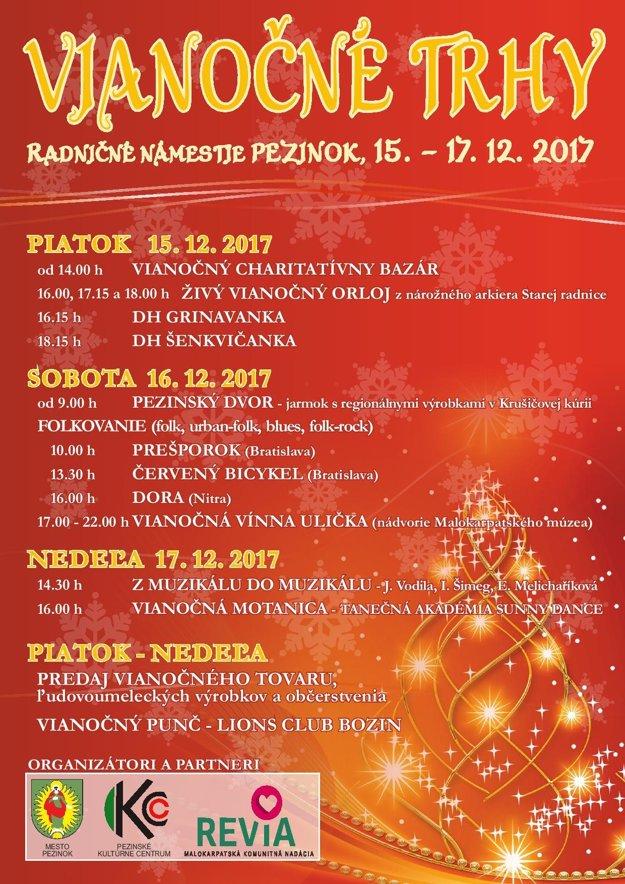 Program Vianočných trhov v Pezinku.