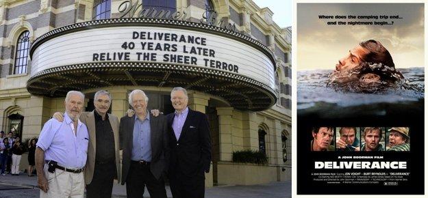 Hlavný predstavitelia filmu Vyslobodenie po 40 rokoch. Zľava Ned Beatty, Burt Reynolds, Ronny Cox a Jon Voight