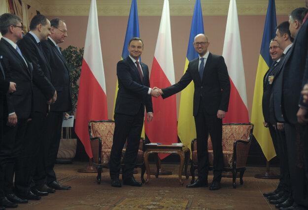 Andrzej Duda sa stretol aj s ukrajinským premiérom Arsenijom Jaceňukom.