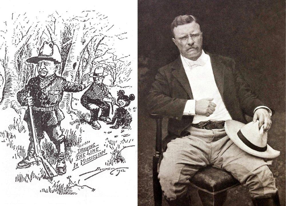 Prezident Teddy Roosevelt odmieta zastreliť medveďa. Táto karikatúra v roku 1902 obletela celé USA a spôsobila mimoriadny záujem o plyšových medvedíkov.